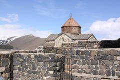 Armenia. Sevan Lake. Surb Arakelots church in winter. View of Surb Arakelots church in winter, Sevanavank orthodox monastery,northwestern shore of Lake Sevan royalty free stock images