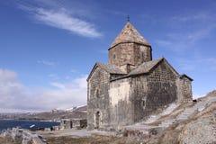 Armenia. Sevan Lake. Surb Arakelots church in winter Stock Images