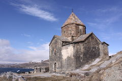 Armenia. Sevan Lake. Surb Arakelots church in winter. View of Surb Arakelots church in winter, Sevanavank orthodox monastery,northwestern shore of Lake Sevan stock images