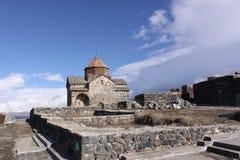 Armenia. Sevan Lake. Surb Arakelots church in winter Stock Photos