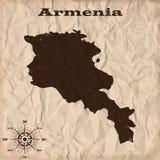 Armenia stara mapa z grunge i miącym papierem również zwrócić corel ilustracji wektora Fotografia Stock