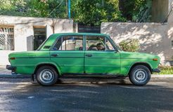 Chasing old cars in Yerevan, Armenia royalty free stock photography