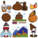 Armenia tourism travel landmarks and Armenian famous symbols vector icons set. Armenia travel tourism landmarks and famous culture symbols. Armenian flag, church Stock Photo