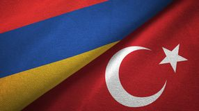 Armenia and Turkey two flags textile cloth, fabric texture royalty free illustration
