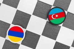 Armenia vs Azerbaijan. Draughts (Checkers) - Armenia vs Azerbaijan stock photography