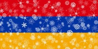 Armenia winter snowflake flag. Illustration Royalty Free Stock Image