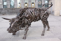 Armenia. Yerevan.  Bull art sculpture from old iron mechanisms in old city center Royalty Free Stock Photo
