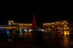 Armenia Yerevan central republic square new year lights. Night shoot royalty free stock image