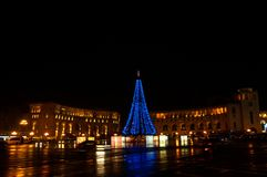 Armenia Yerevan central republic square new year lights. Night shoot stock photography