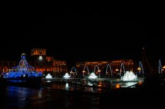 Armenia Yerevan central republic square new year lights. Night shoot stock photos