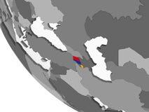 Armenia z flaga na kuli ziemskiej ilustracji