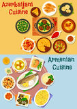 Armenian and azerbaijani cuisine icon set design. Armenian and azerbaijani cuisine icon set of rice pilaf with fruit, vegetable lamb stew, baked fish and chicken Royalty Free Stock Photography