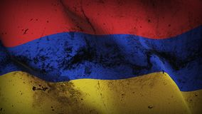 Armenia grunge dirty flag waving on wind. Armenian background fullscreen grease flag blowing on wind. Realistic filth fabric texture on windy day Royalty Free Stock Photo