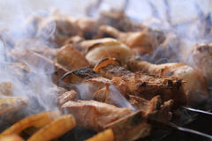 Armenian barbecue  with the fire Royalty Free Stock Photo