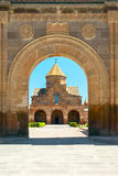 Armenian building Christian church, arch aperture. Etchmiadzin church building, Armenian apostolic architecture. object of the world heritage of UNESCO Stock Photo