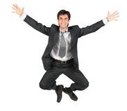 Armenian businessman jumping stock image