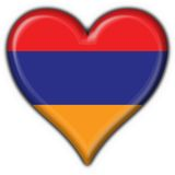 Armenian button flag heart shape. 3d made Stock Image