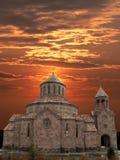 Armenian church. Armenian church on background of the sundown sun,Caucasus,Armenia Royalty Free Stock Photos