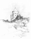 Armenian church. In Akmadar island, sketch, Turkey Royalty Free Stock Images