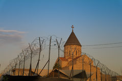 Armenian church behind barbed wire, Baghdad Iraq Stock Image
