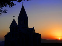 ARMENIAN CHURCH SUNSET. Armenian christian church located in Stepanakert royalty free stock image