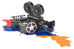 Armenian cinematography, film industry concept. 3D rendering. Isolated on white background Royalty Free Stock Photography