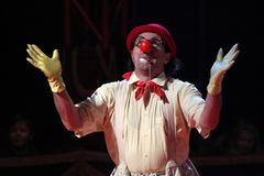 Armenian clown Gosha Grigoryan performs in the Humberto Circus. Stock Photos