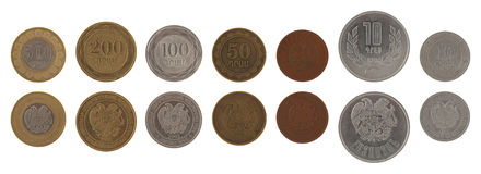 Armenian Coins Isolated on White Stock Photography