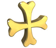 Armenian cross in gold - 3D. Made Royalty Free Stock Photography