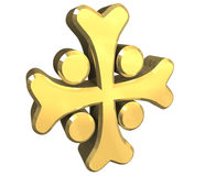 Armenian cross in gold - 3D. Made Stock Photography