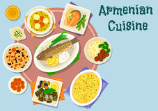 Armenian cuisine dinner icon for menu design. Armenian cuisine dinner dishes icon of baked fish with rice, lamb meatball soup, grape leaf roll, rice pilaf with Stock Images