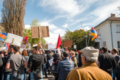 Armenian diaspora protest outside Azerbaijan Embassy Stock Images