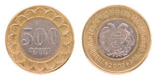 500 Armenian dollars coin royalty free stock photos