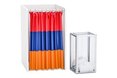 Armenian election concept, ballot box and voting booths with fla Stock Images