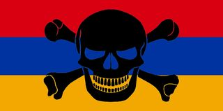 Pirate flag combined with Armenian flag. Armenian flag combined with the black pirate image of Jolly Roger with crossbones Stock Images
