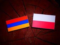 Armenian flag with Polish flag on a tree stump isolated. Armenian flag with Polish flag on a tree stump royalty free illustration
