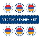 Armenian flag rubber stamps set. National flags grunge stamps. Country round badges collection Royalty Free Stock Photo