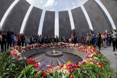 Armenian Genocide memorial complex 24 April 2015 Armenia, Yerevan Royalty Free Stock Photos