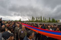 Armenian Genocide memorial complex 24 April 2015 Armenia, Yerevan. Armenia's official memorial dedicated to the victims of the Armenian Genocide, Every year on Stock Photos