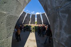 Armenian Genocide memorial complex 24 April 2015 Armenia, Yerevan. Armenia's official memorial dedicated to the victims of the Armenian Genocide, Every year on Royalty Free Stock Image