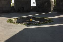 Armenian genocide memorial monument with eternal flame and flowe. Rs, in Yerevan, Armenia Stock Photography