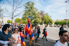 Armenian genocide 100th  rememberance march in France Royalty Free Stock Photography
