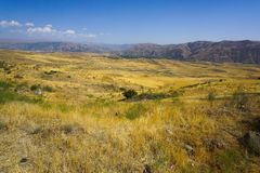 Armenian Landscape Steppe with Dry Grass stock photo