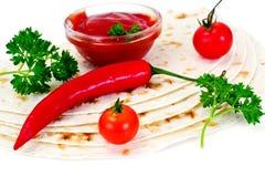 Armenian Lavash mit Tomate Adzhika Lizenzfreie Stockfotografie