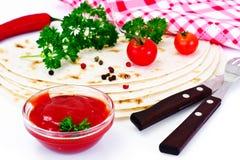 Armenian Lavash mit Tomate Adzhika Lizenzfreies Stockbild