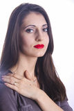 Armenian married woman. Cute young armenian girl with red lips posing in studio royalty free stock image
