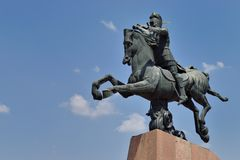 Armenian military leader Vardan Mamikonian's statue. He is best known for leading the Armenian army at the Battle of Avarayr in 451,which ultimately secured the Royalty Free Stock Photos