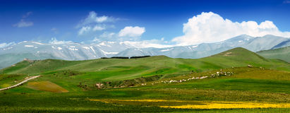 Armenian mountains. Blue and green colors of fields Royalty Free Stock Photo