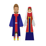 Armenian national dress. Illustration of national costume on white background Stock Images