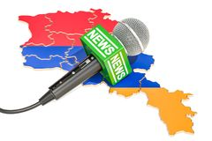 Armenian News concept, microphone news on the map of Armenia. 3D. Armenian News concept, microphone news on the map of Armenia Royalty Free Stock Image